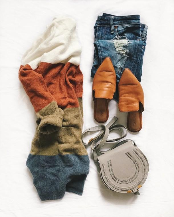 Fall Fashion Flatlay / Striped Cardigan & Ripped Jeans