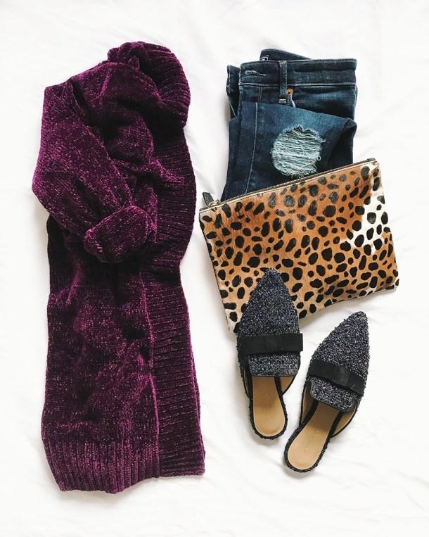 Fall Fashion Flatlay / Chenille Cardigan & Tweed Slides