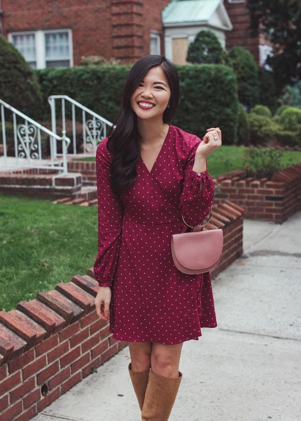Fall Outfit Ideas / Burgundy Wrap Dress