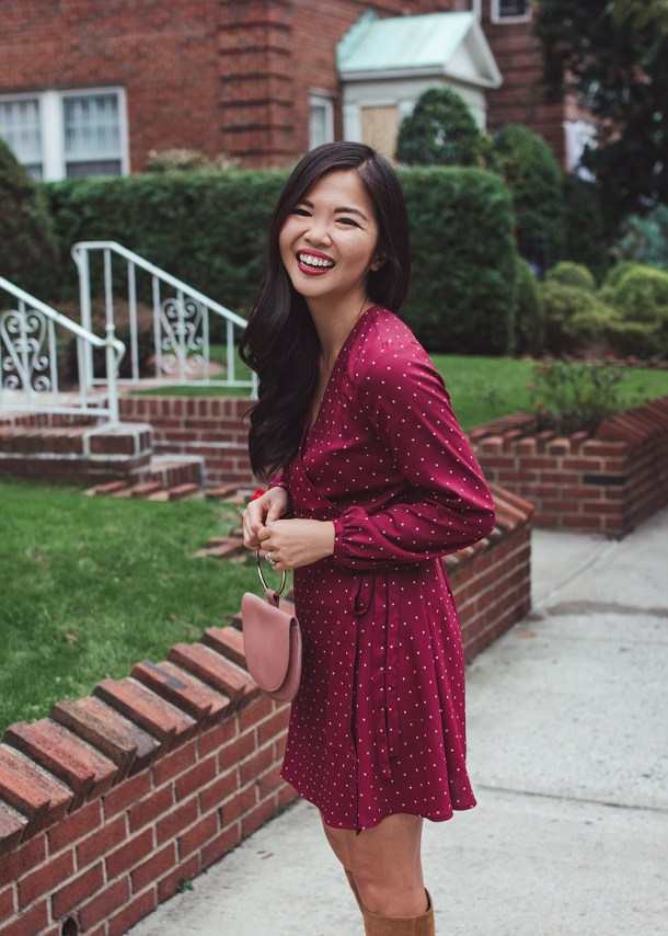 Fall Dress Trends / Wrap Dress with Suede Boots