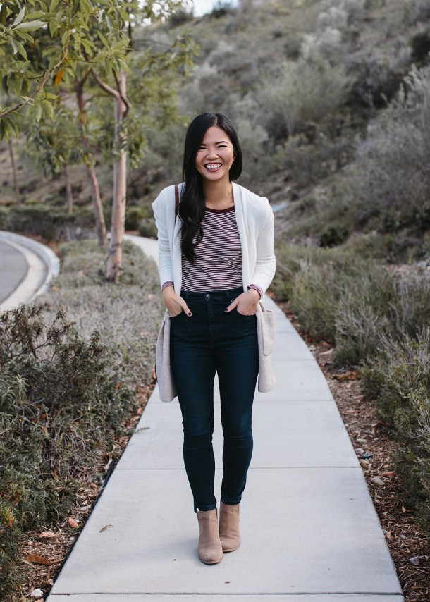 Neutral Casual Fall Style / Colorblock Cardigan & Skinny Jeans