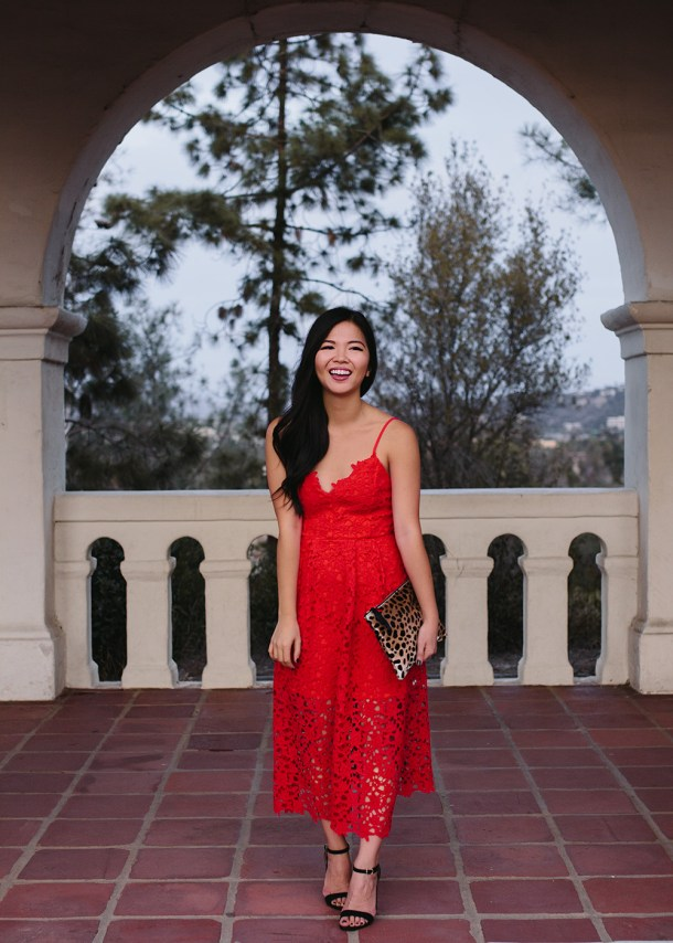 Holiday Party Outfit Idea / Red Lace Midi Dress