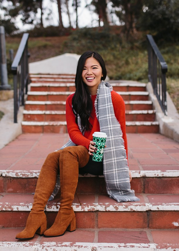 Holiday Outfit Ideas / Red Sweater & Brown Over the Knee Boots