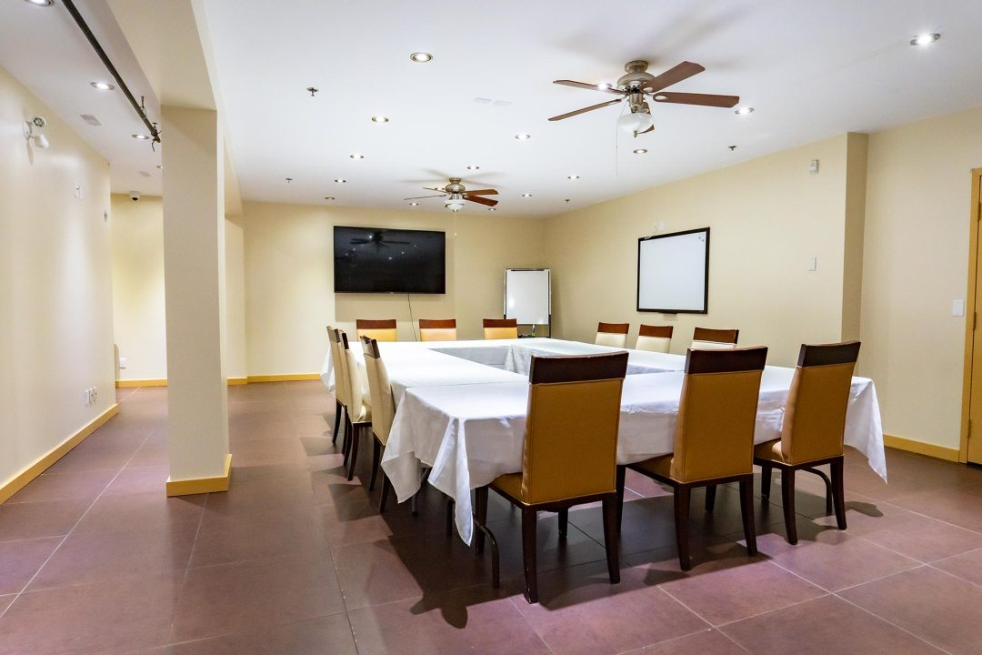 Board Reem Setup with Large Conference Table and Chairs