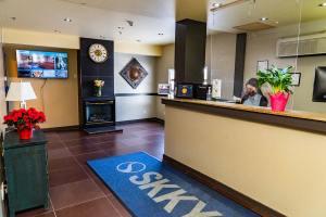 Front desk at SKKY Hotel, Whitehorse Yukon