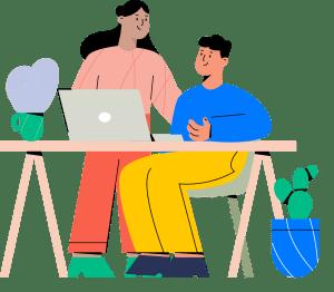 Ilustracja przedstawiająca dwójkę wesołych pracowników przy biurku