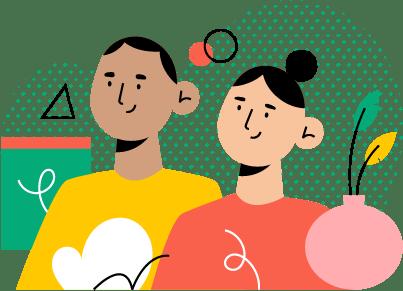 ilustracja dwójki ludzi patrzących przed siebie