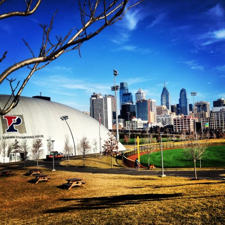 Running though the practice fields at University of Pennsylvania