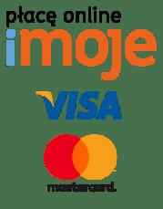 Na zdjęciu znajdują się logo płacę online imoje, visa oraz mastercard