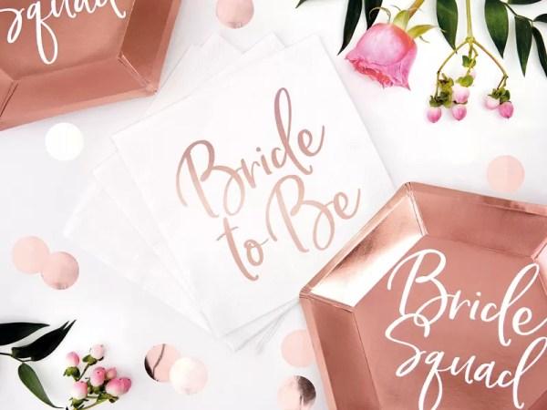 SERWETKI BRIDE TO BE RÓŻOWE ZŁOTO 5