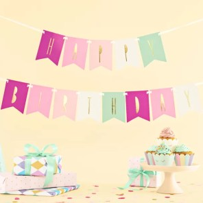 BANER HAPPY BIRTHDAY MIX RÓŻOWY