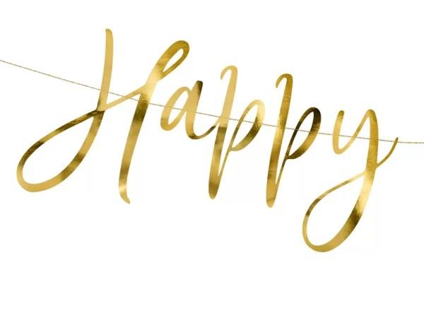 BANER HAPPY NEW YEAR ZŁOTY 66 CM 1