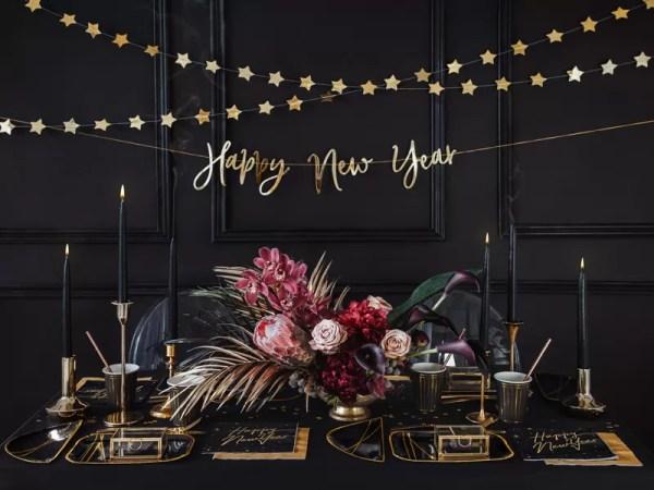 BANER HAPPY NEW YEAR ZŁOTY 66 CM 3