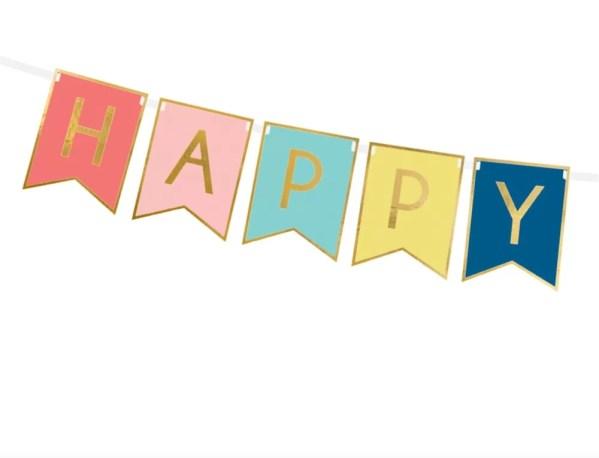 BANER HAPPY BIRTHDAY RÓŻOWY KOLOROWY 2