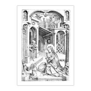 Kartka bożonarodzeniowa – Mair Von Landshut, Narodzenie, 1499