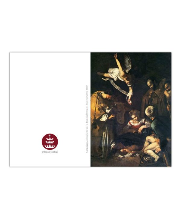 Kartka bożonarodzeniowa – Caravaggio, Narodzenie ze św. Franciszkiem i św. Wawrzyńcem, 1600