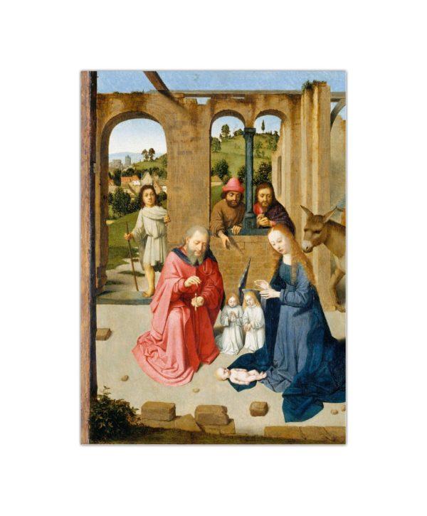 Kartka bożonarodzeniowa – Gerard David, Narodzenie, ok. 1480