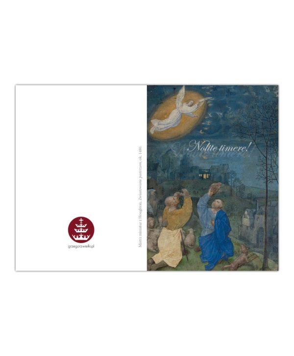 Kartka bożonarodzeniowa – Mistrz Miniatur Z Houghton, Zwiastowanie pasterzom, ok. 1480