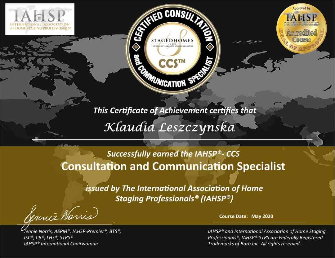 Klaudia Leszczynska Certyfikat