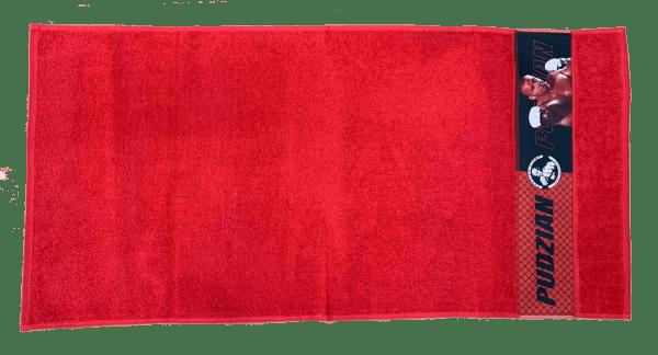Czerwony ręcznik Pudzian Team poziomo