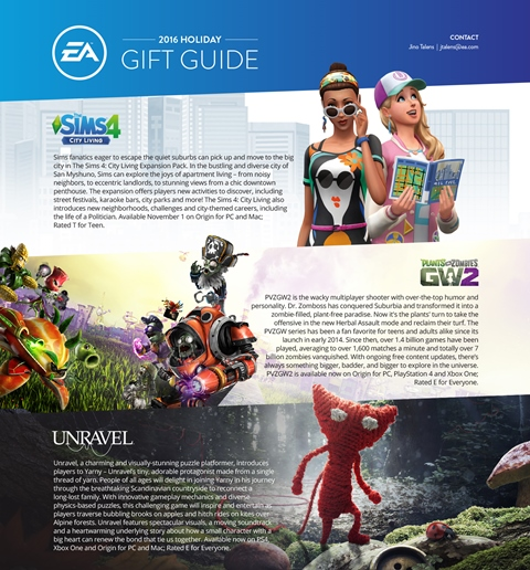 The Sims 4, Planst Vs. Zombies: Garden Warfare 2, Unravel