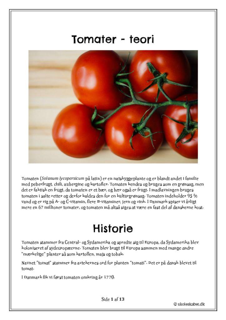 Tomater i madkundskab – et undervisningsforløb
