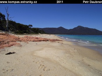 Pláž Hazards Beach ve Freycinet NP
