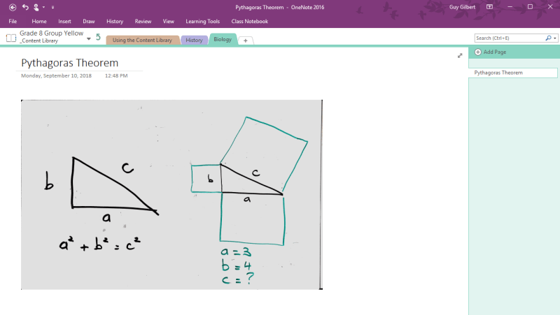 Office Lens whiteboard in OneNote
