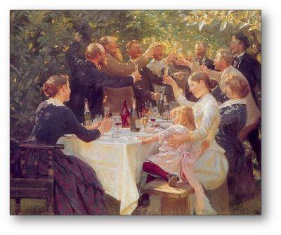 Skagenmalerne malede ofte malerier af deres mange festligheder og venskaber