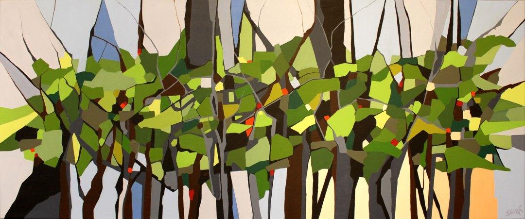 Abstrakt maleri. Farveudtryk af skovstribe i modlys