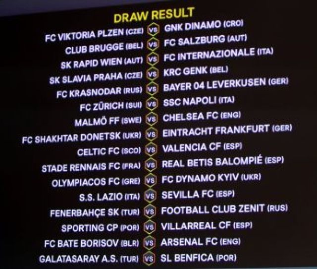 Heres The Full Europa League Round Of 32 Fixtures