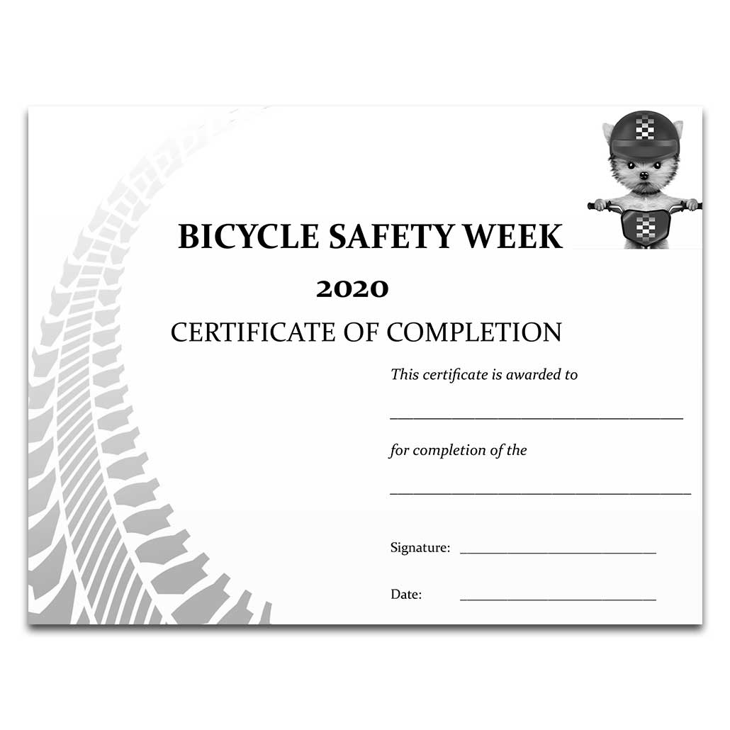 Bicycle Safety Week 2020 Certificate