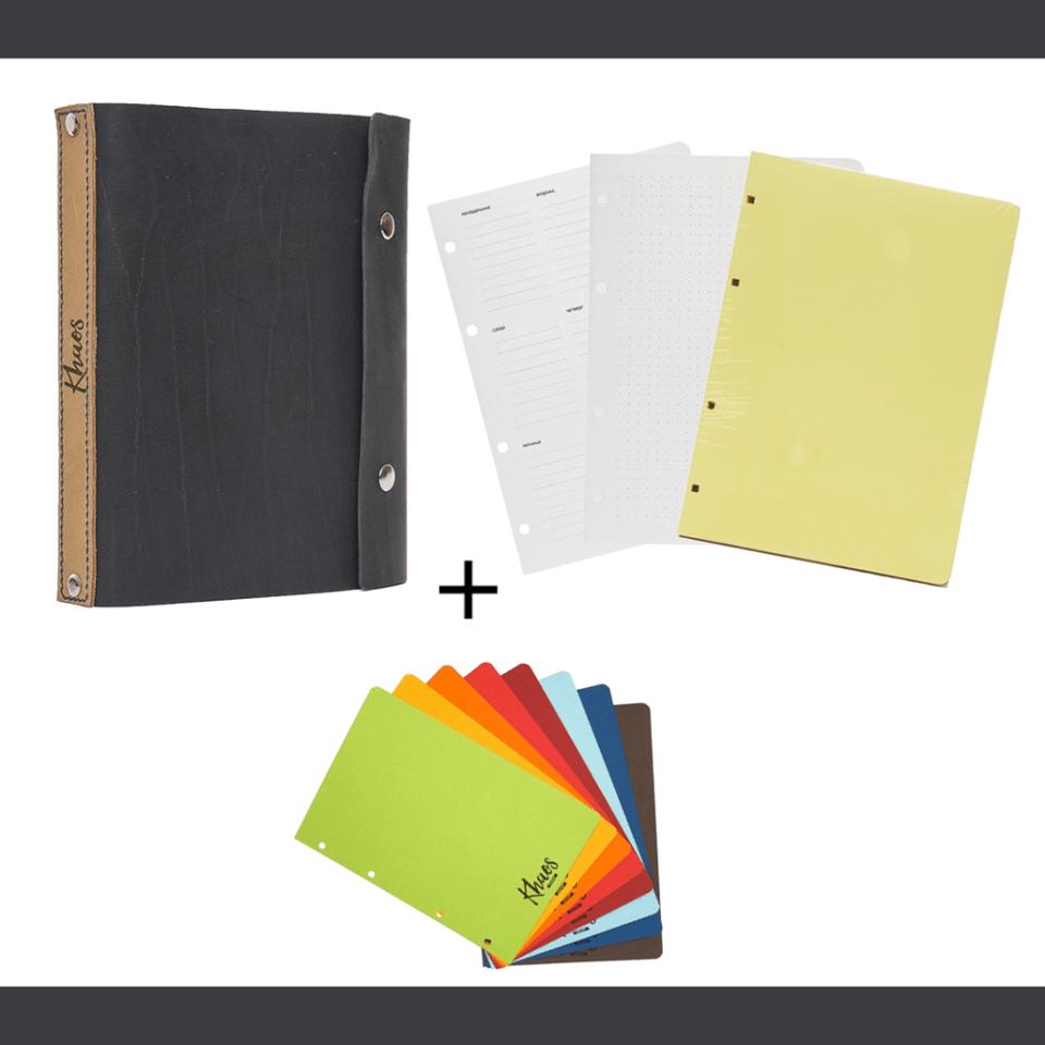 Кожаная обложка, три блока, бумажные разделители   Домашнее издательство Skrebeyko