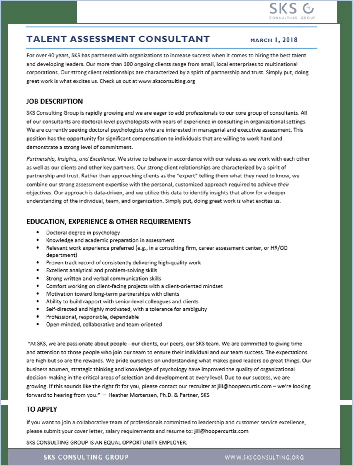 Sks Assessment Consultant