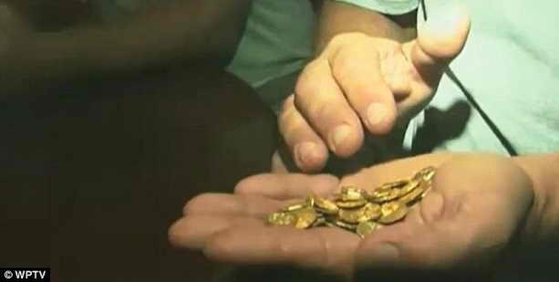 Дневная вырука золотые монеты на руке искателя