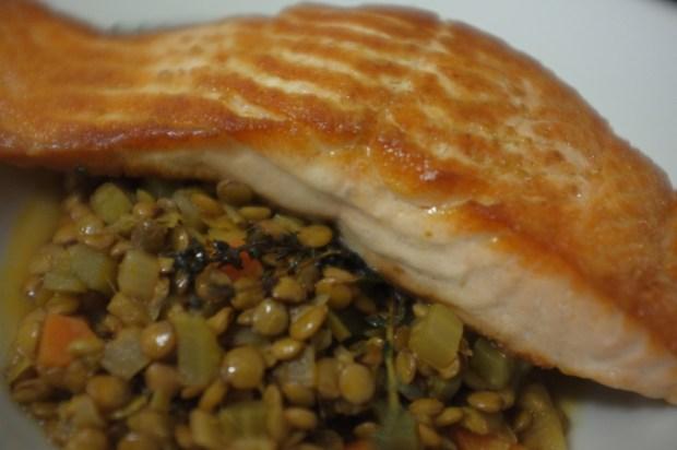 salmon-lentils