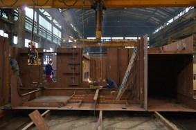 Izgradnja grupe 212 za Novogradnju 484 na liniji za montažu i zavarivanje polusekcija u Brodosplitovoj brodoobradnoj radionici