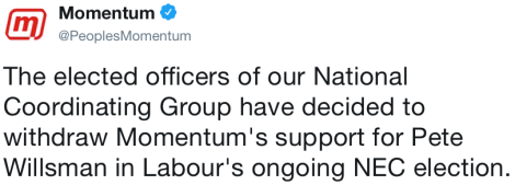 Momentum withdrawal of Willsman support is idiotic, reckless and