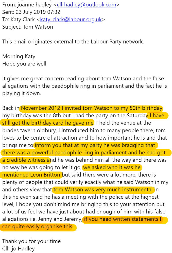 Jo Hadleys complaint to Labour