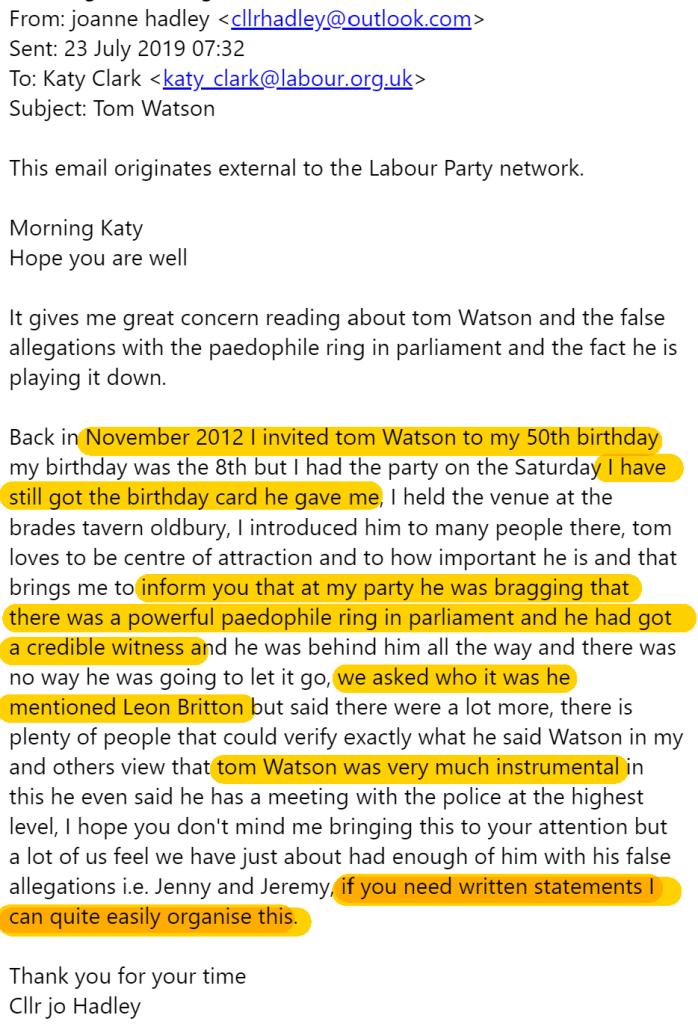 Jo Hadleys complaint to Labour