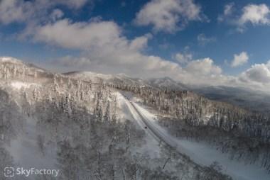 空撮/札幌市南区中山峠・2014冬