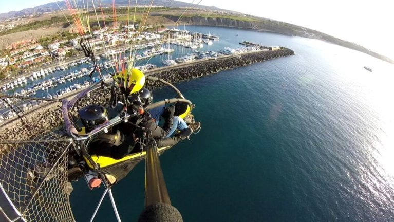 paragliding over Pasito Blanco in Gran Canaria