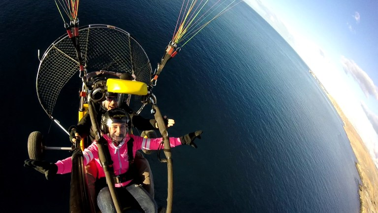 paragliding over the ocean near Maspalomas Dunes