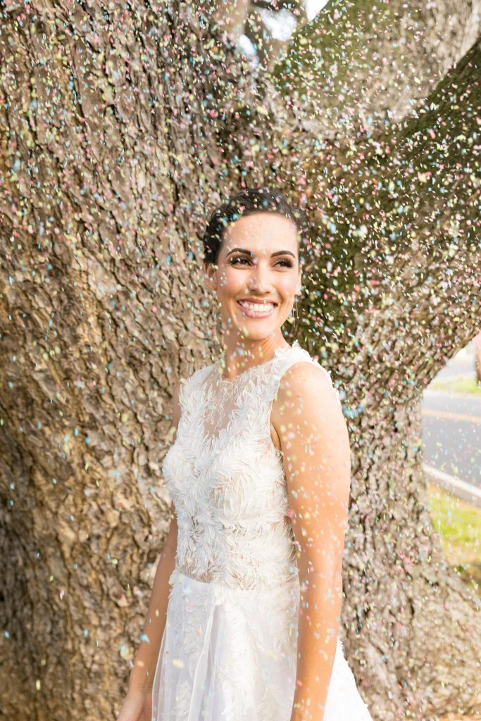 bride happy with conefetti