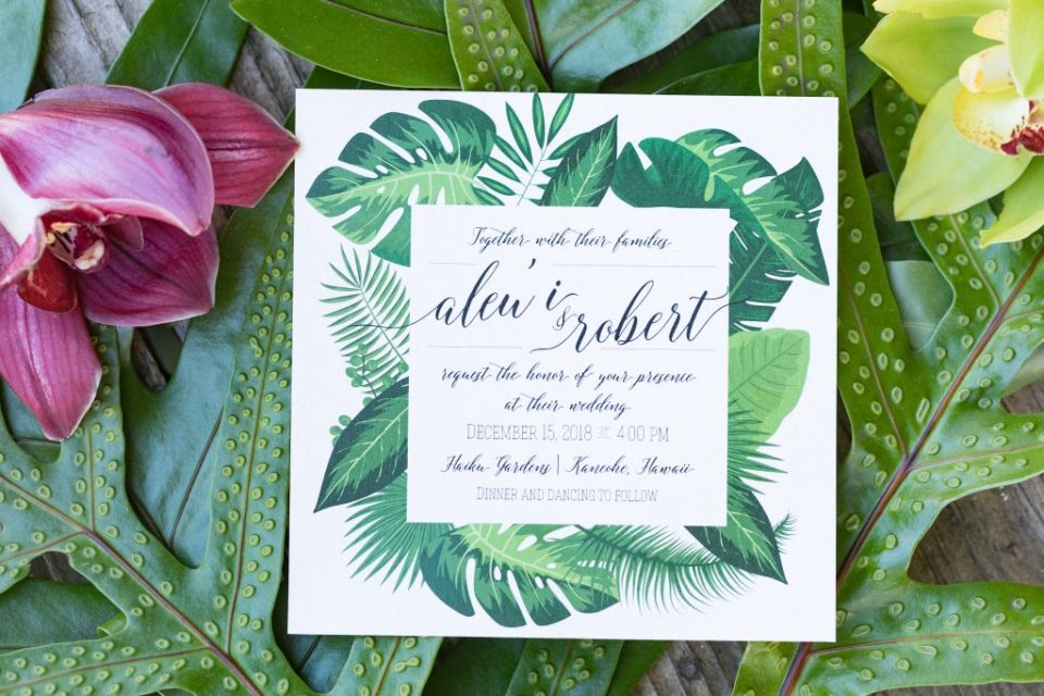 custom tropical wedding invitation