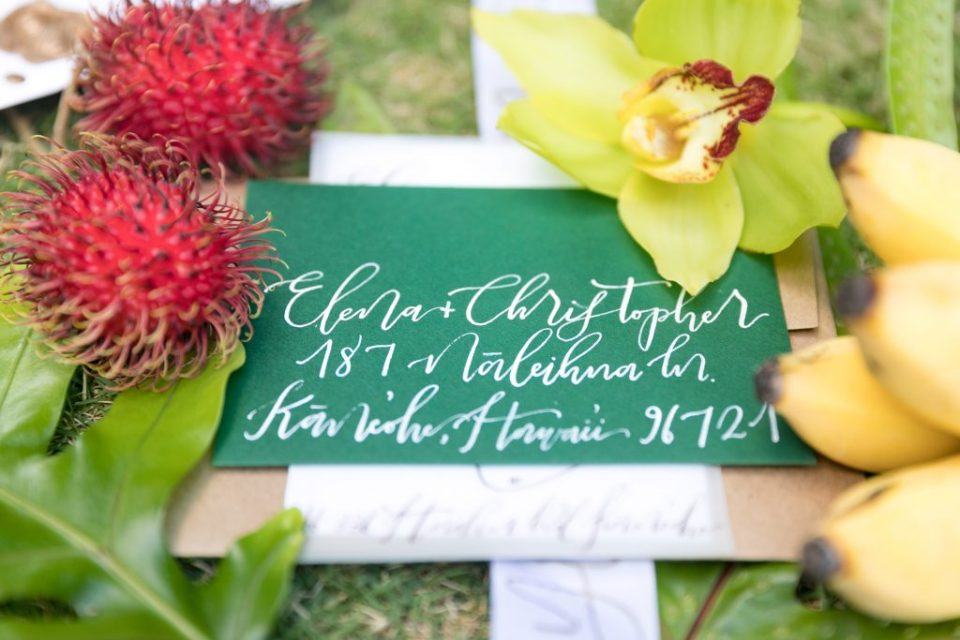 calligraphy tropical green wedding stationary