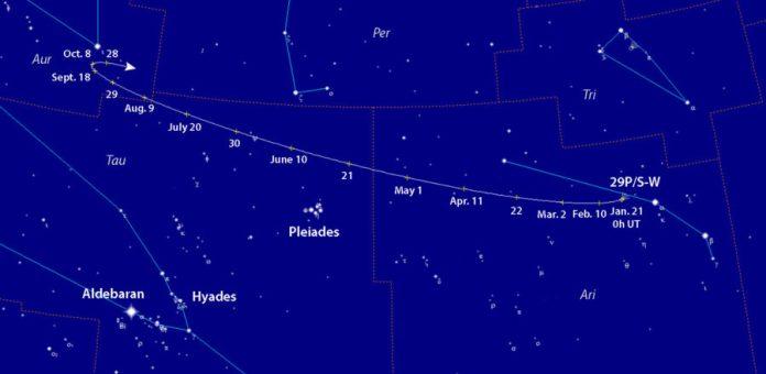 Comet 29P/Schwassmann-Wachmann finder chart