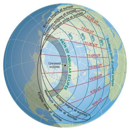 10 जून 2021 को वार्षिक सूर्य ग्रहण पथ