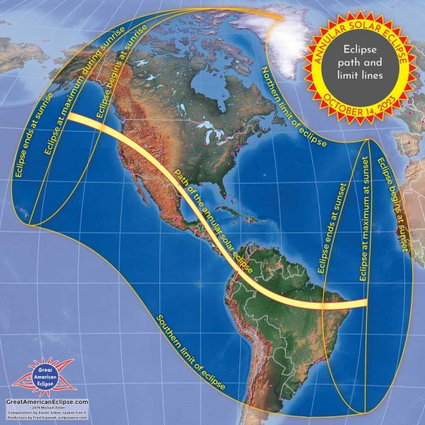 map showing the 2023 eclipse path