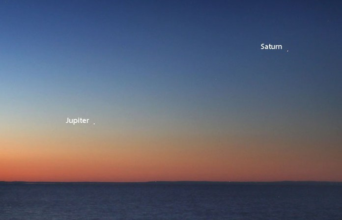 Jupiter and Saturn return at dawn